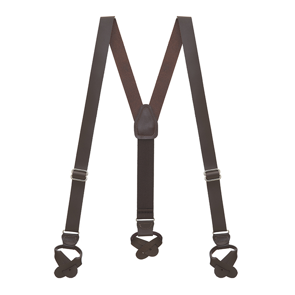 All Leather Button Suspenders - BROWN