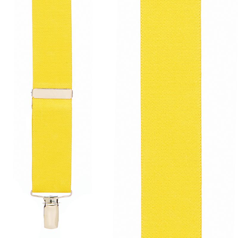 1.5 Inch Wide Clip Suspenders - YELLOW