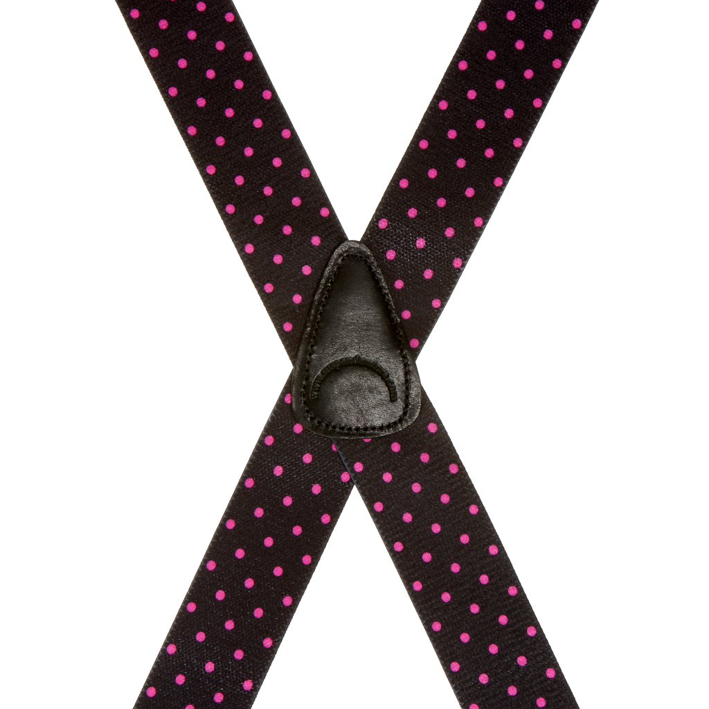 Pink Polka Dots on Black Suspenders - 1.5 Inch Wide Clip