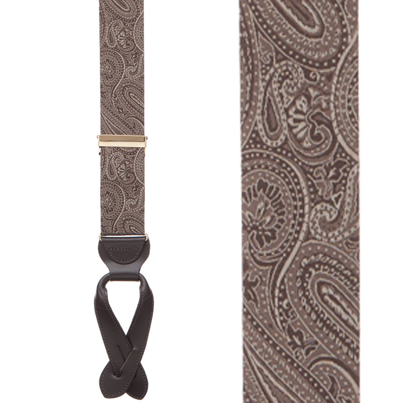Brown Paisley Silk Suspenders - Button