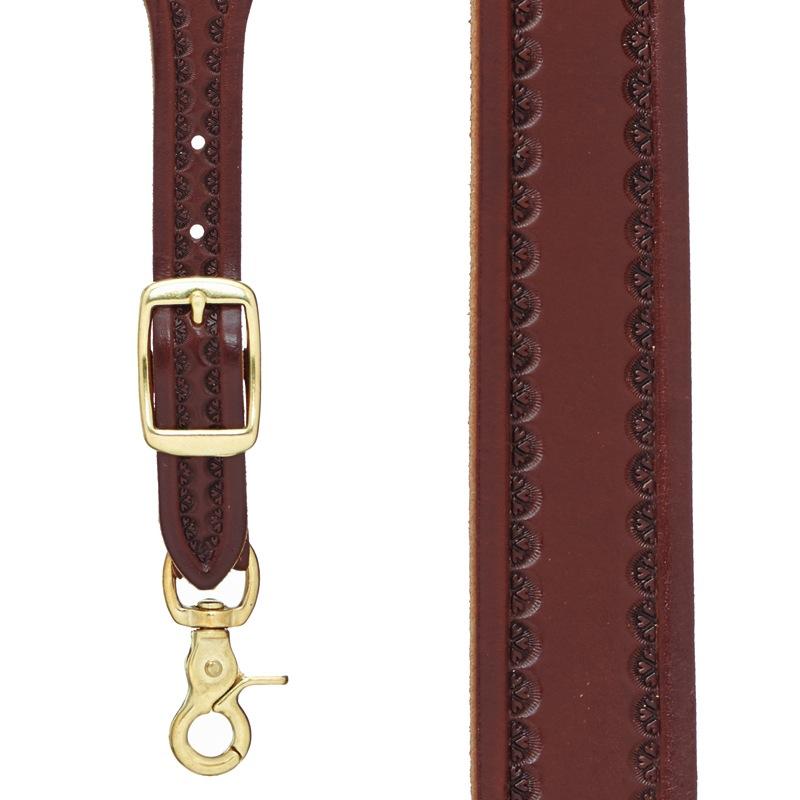 Border Stamped 1.5 Inch Wide Western Leather Suspenders - BROWN