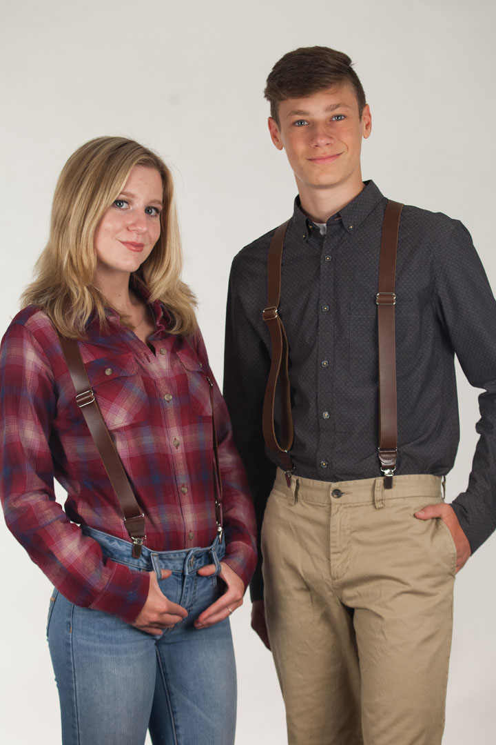 All Leather Suspenders - Clip