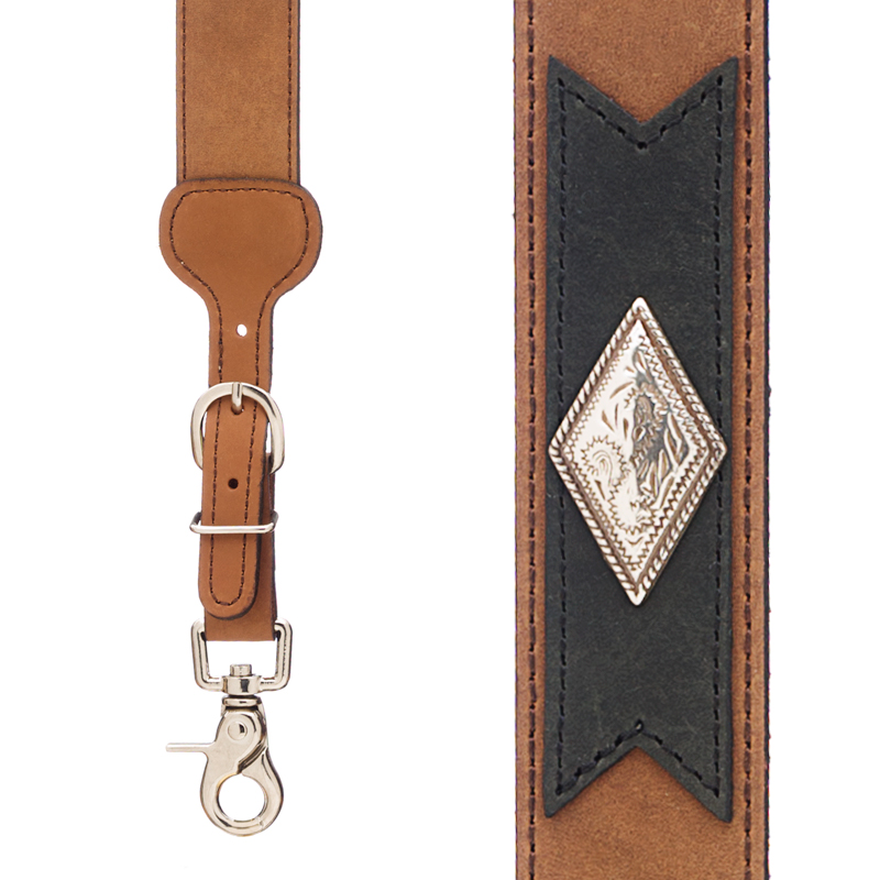 Apache Western All Leather Suspenders