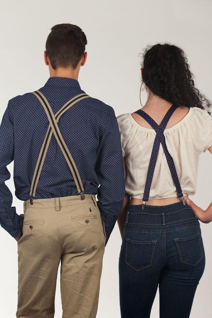 1 Inch Wide Polka Dot & Striped Suspenders
