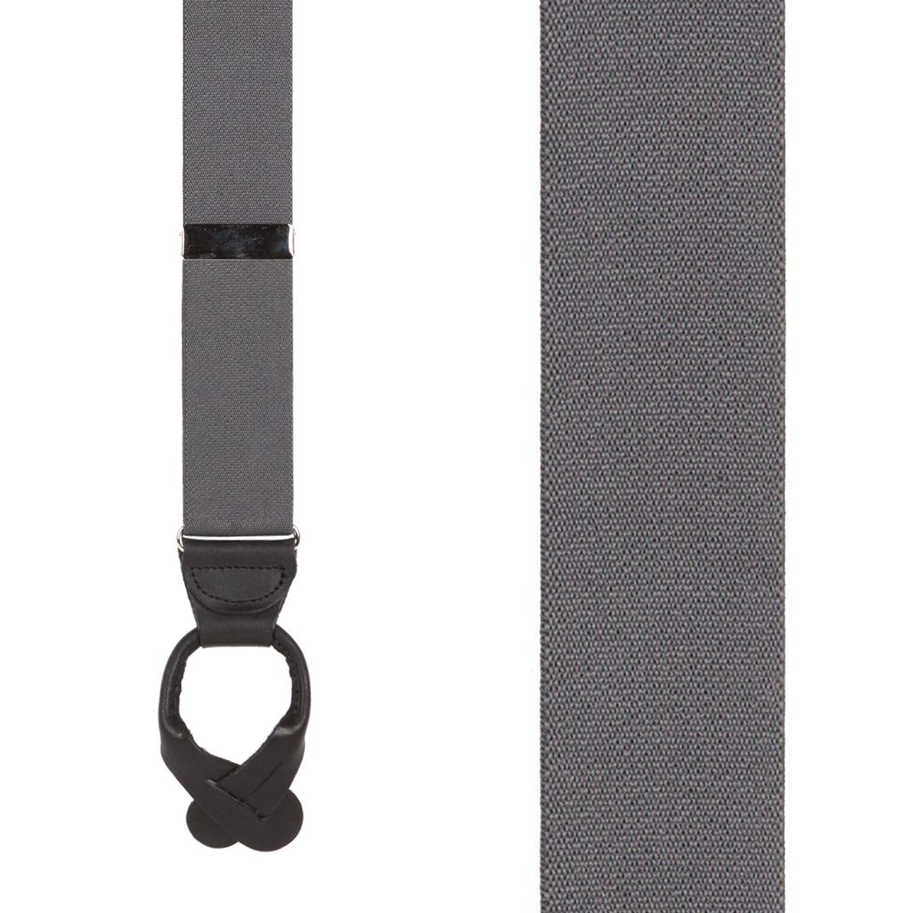 1.5 Inch Wide Button Suspenders - DARK GREY