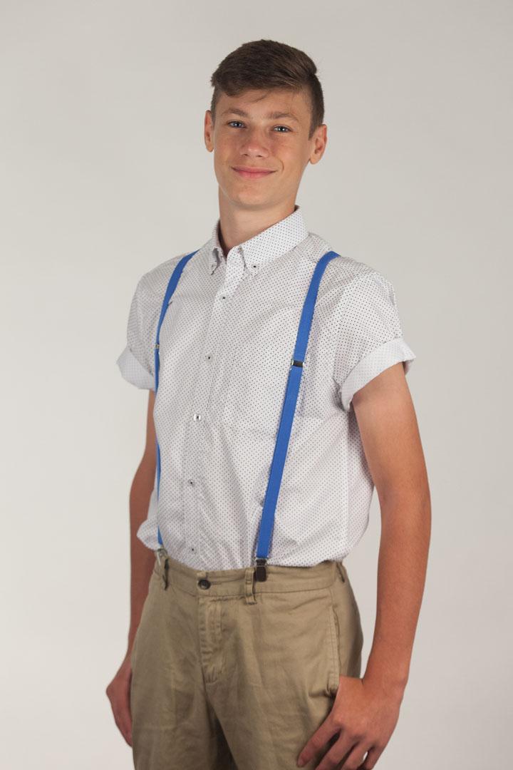Neon Blue Skinny Suspenders - 1/2 Inch Wide