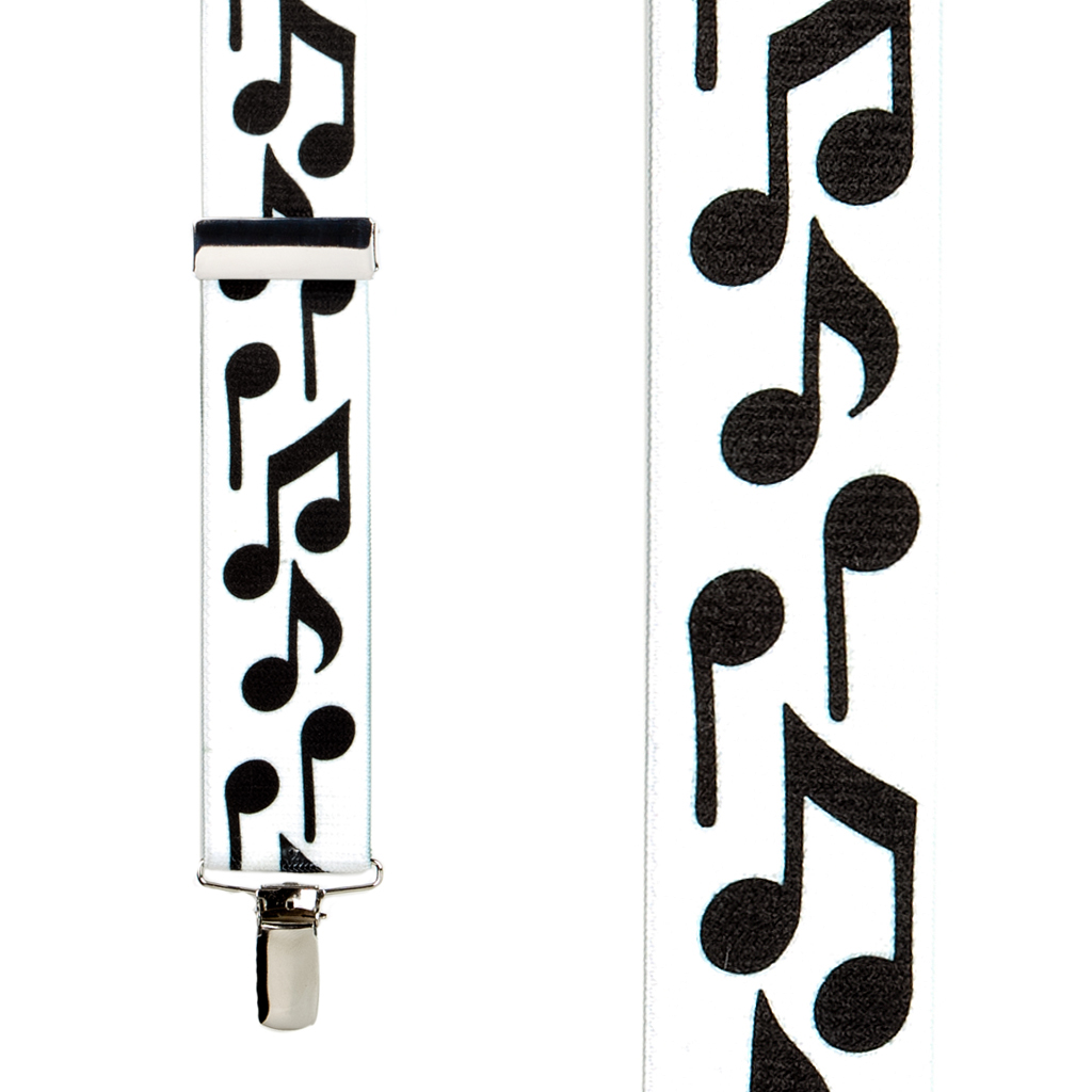 Black Music Notes on White Suspenders