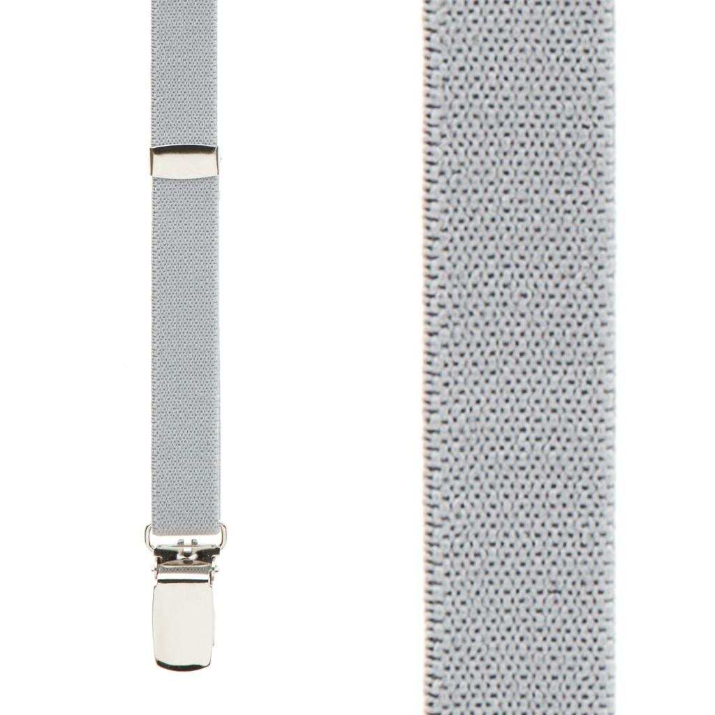 1/2 Inch Wide Skinny Suspenders - LIGHT GREY