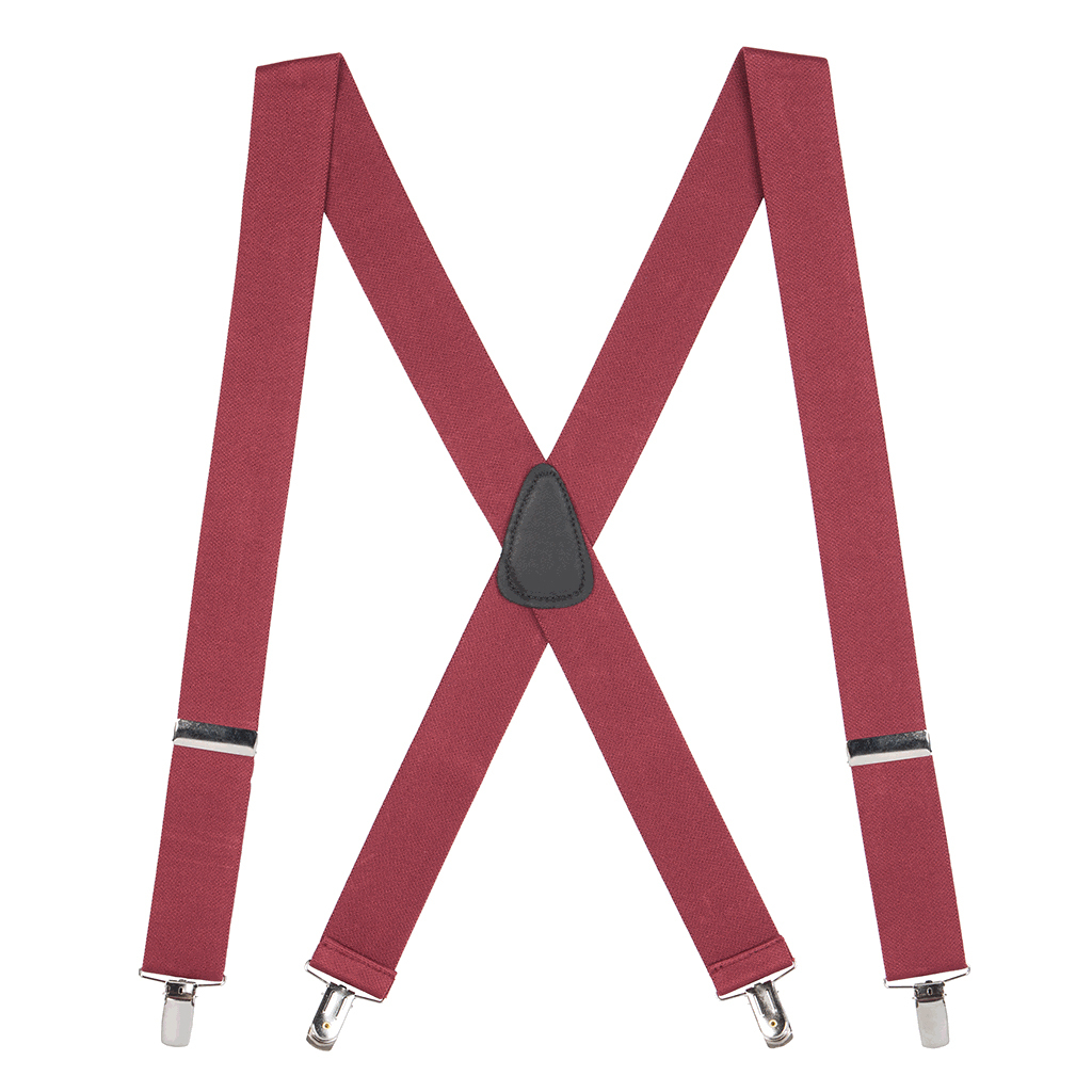 1.5 Inch Wide Clip Suspenders - BURGUNDY