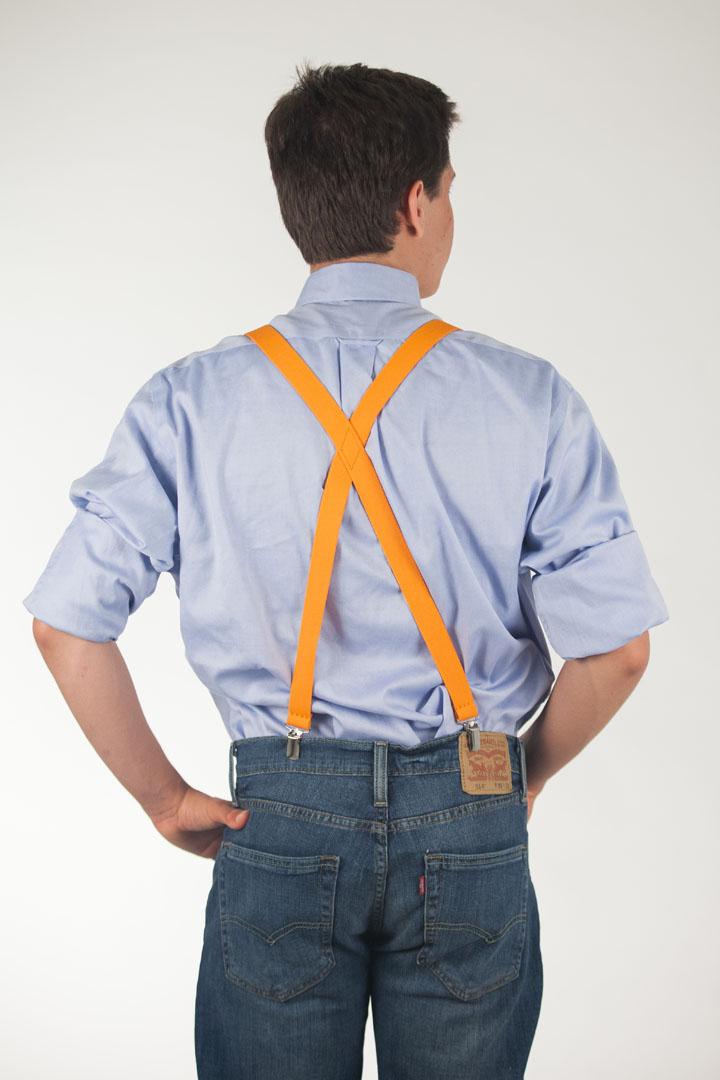 1 Inch Wide Clip Suspenders (X-back) - ORANGE