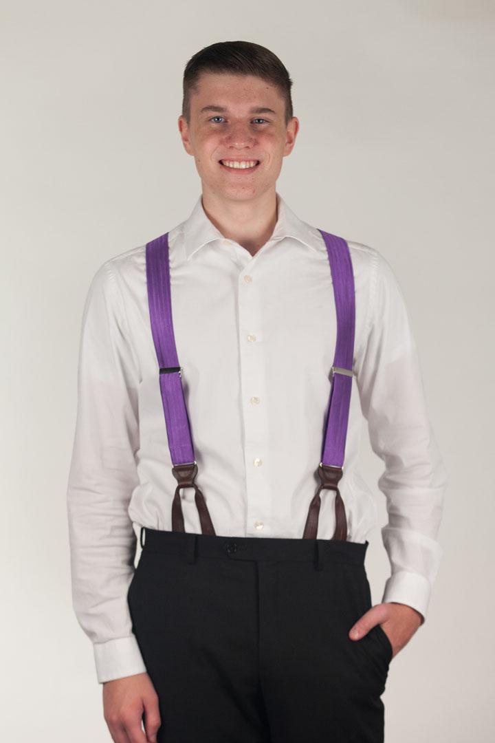 Purple Herringbone Silk Suspenders