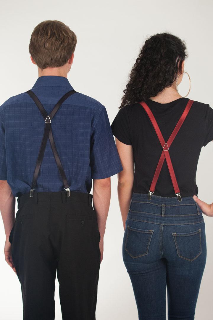 3/4 Inch Wide Thin Suspenders - Satin Finish
