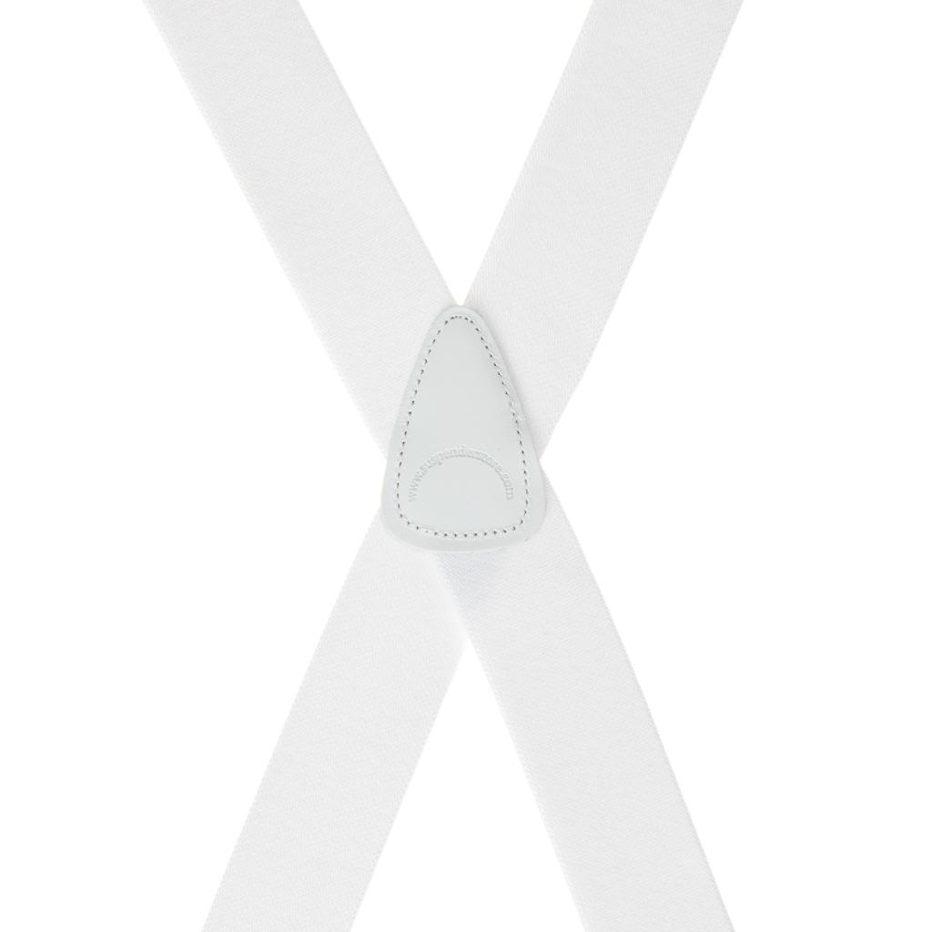 1.5 Inch Wide Brass Clip Suspenders - WHITE