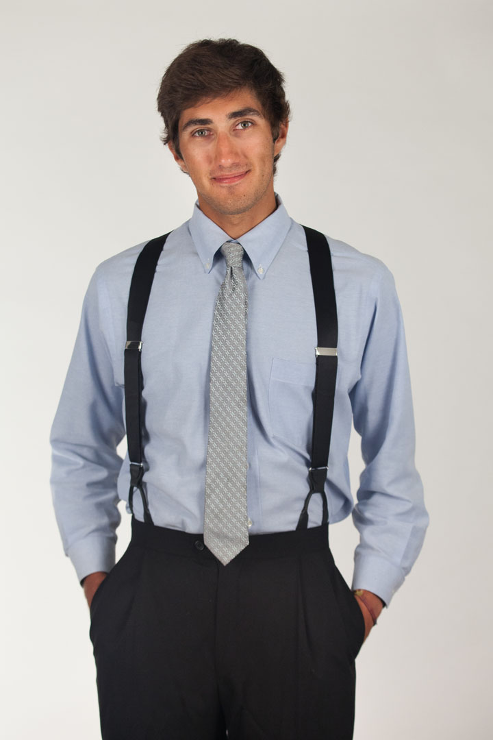 how to wear button suspenders