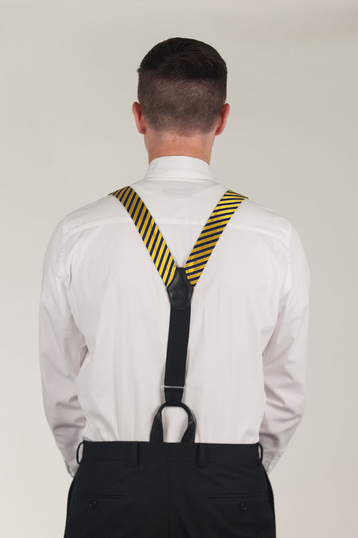 Diagonal Stripe Suspenders - Convertible End
