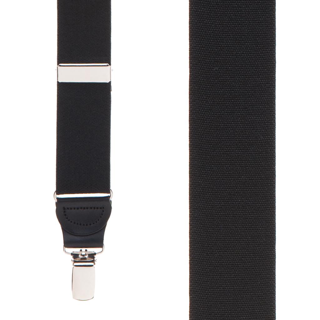 1.25 Inch Wide Y-Back Drop Clip Suspenders - BLACK