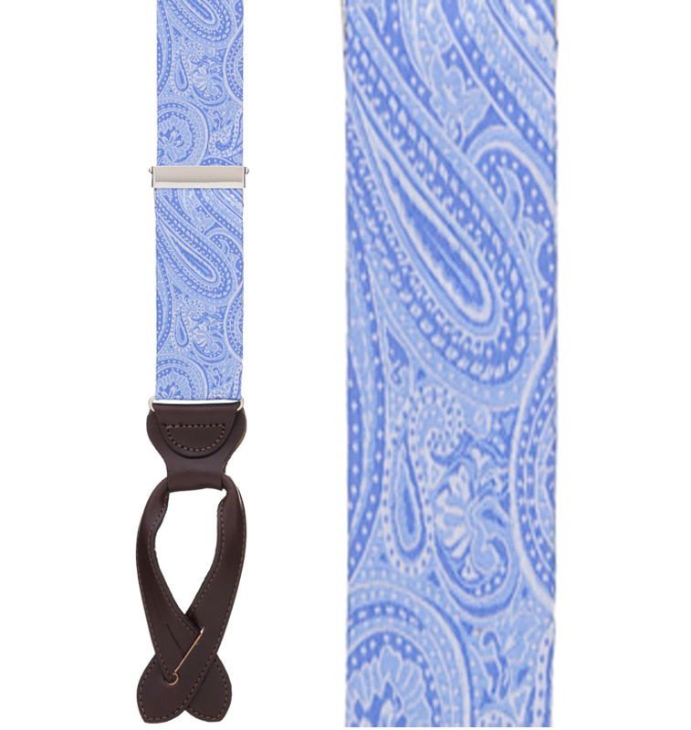 Light Blue Paisley Silk Suspenders - Button