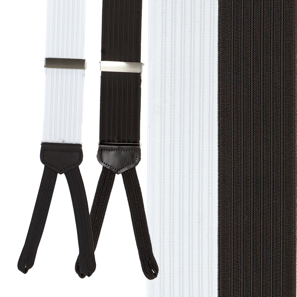 Formal Ribbed Dress Suspenders - Runner End