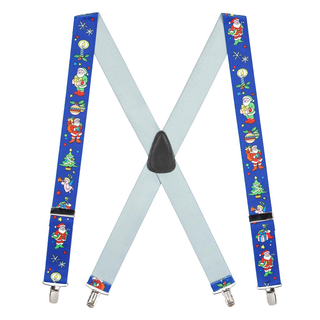 Santa on Blue Suspenders - 1.5 Inch Wide Clip