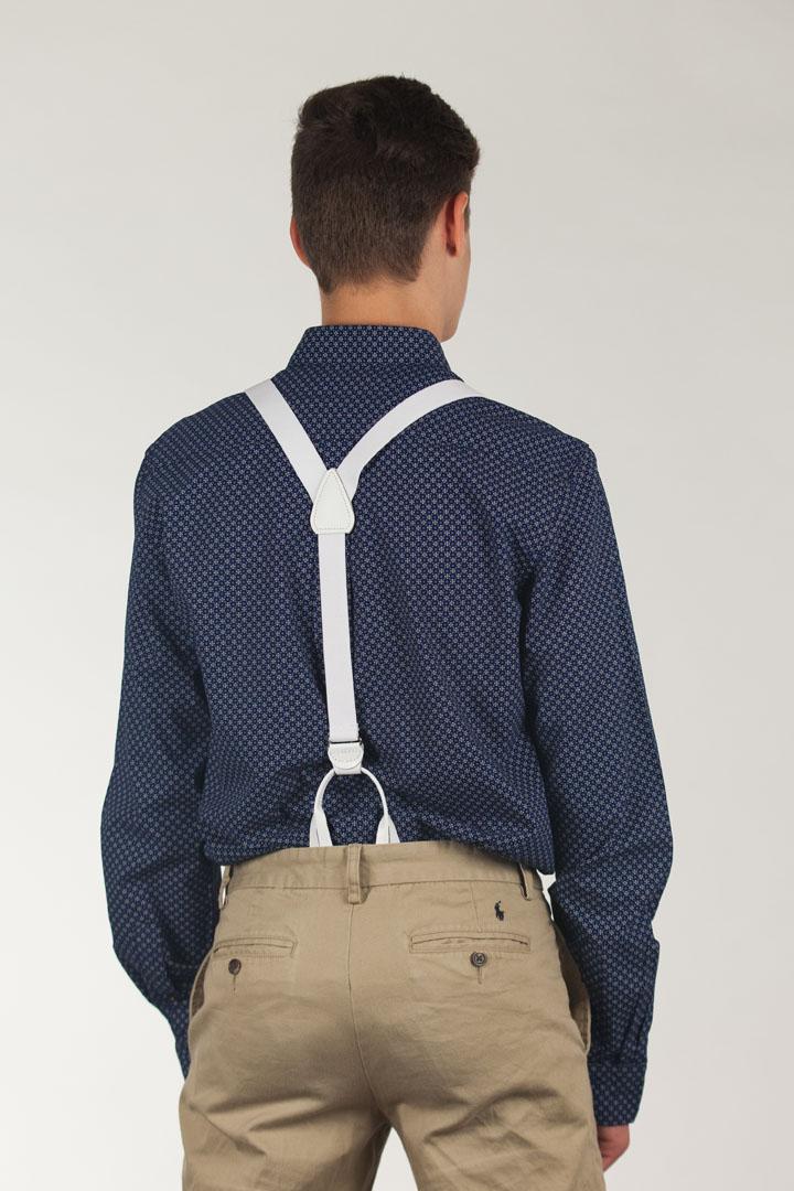 1 Inch Wide Button Suspenders - WHITE