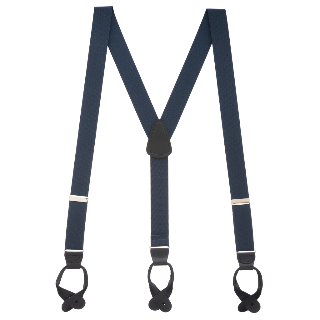1.25 Inch Wide Button Suspenders - NAVY BLUE (Black Leather)