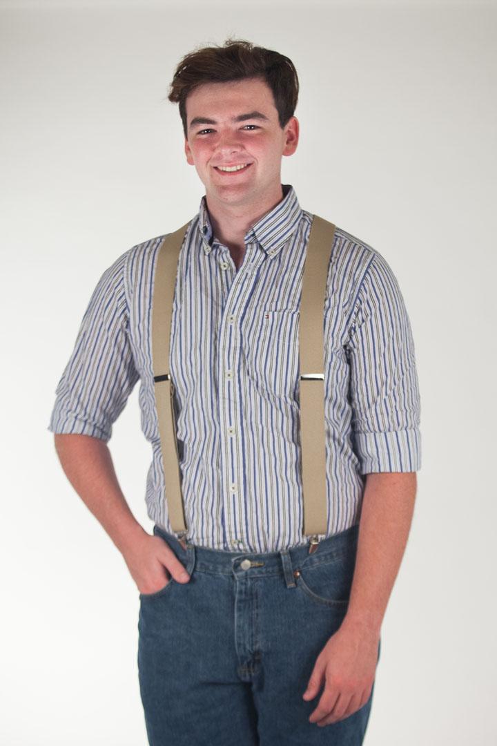 1.5 Inch Wide Clip Suspenders - TAN