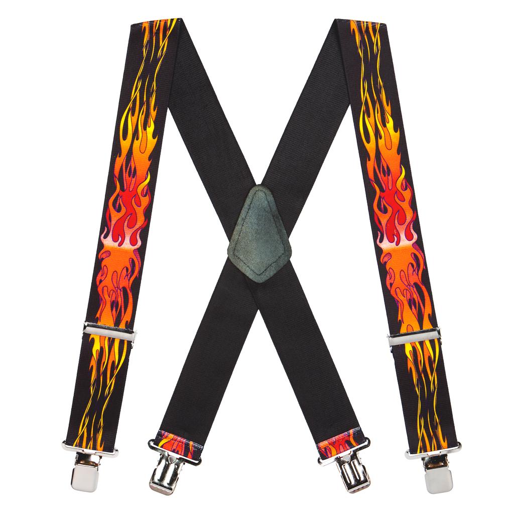 Orange Flames Suspenders - 2 Inch Wide Clip