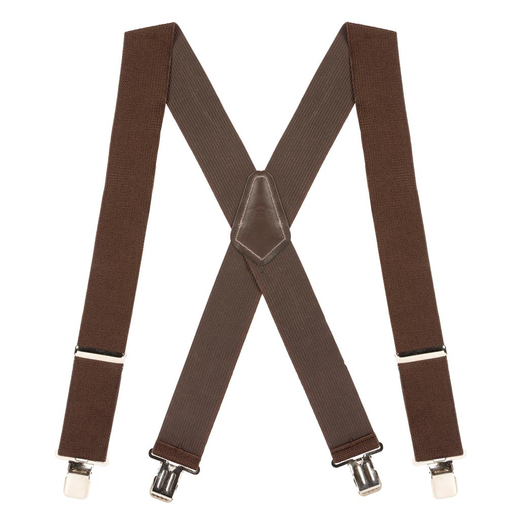 2 Inch Wide Clip Suspenders - BROWN