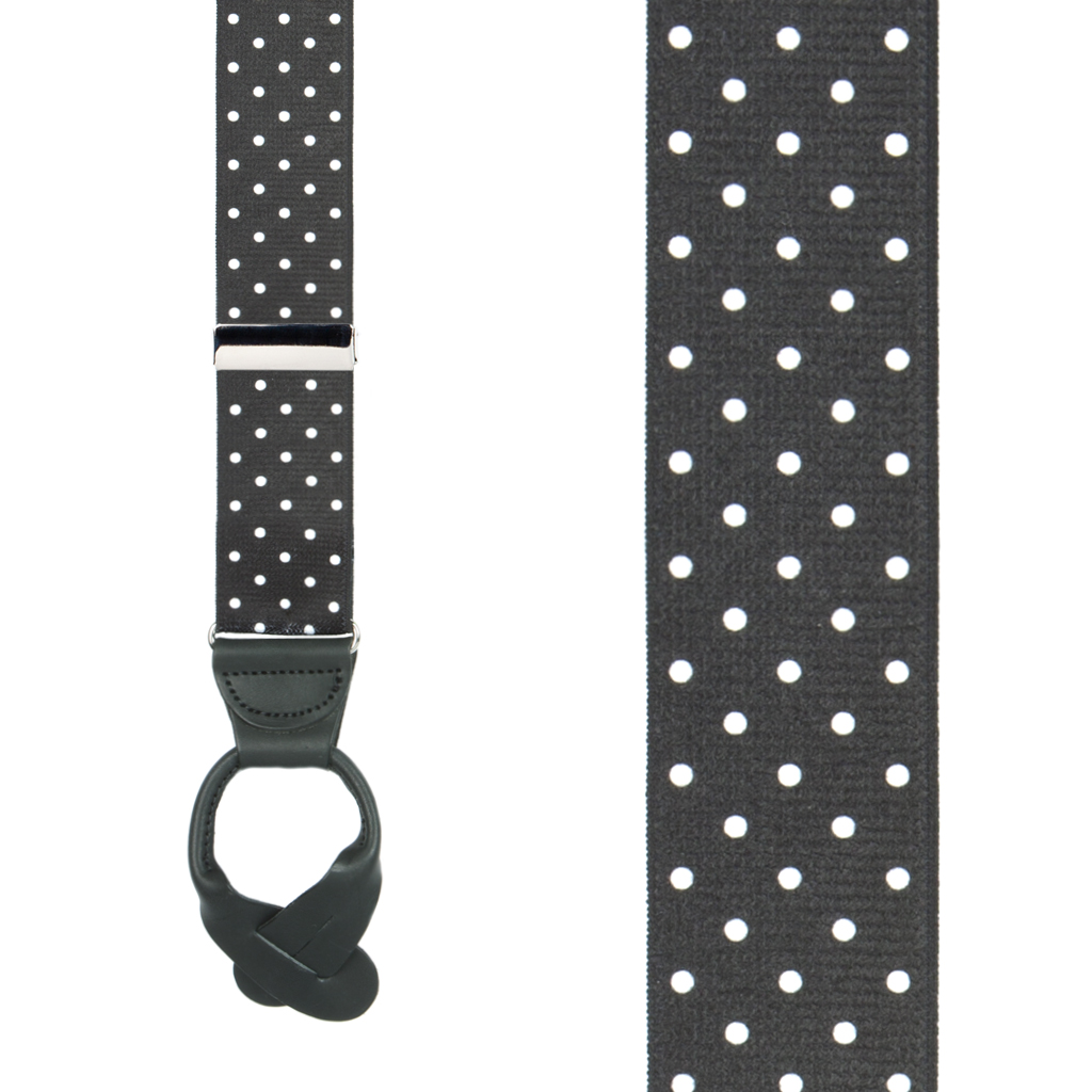 Polka Dot Suspenders - White on Black 1.5 Inch Wide Button