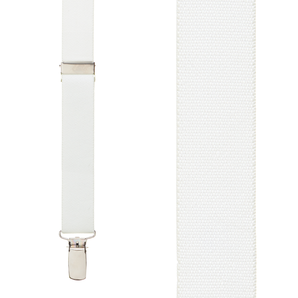 1 Inch Wide Clip Suspenders (Y-Back) - WHITE