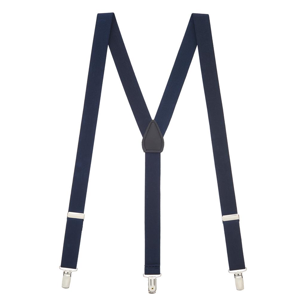 1 Inch Wide Clip Suspenders (Y-Back) - NAVY BLUE