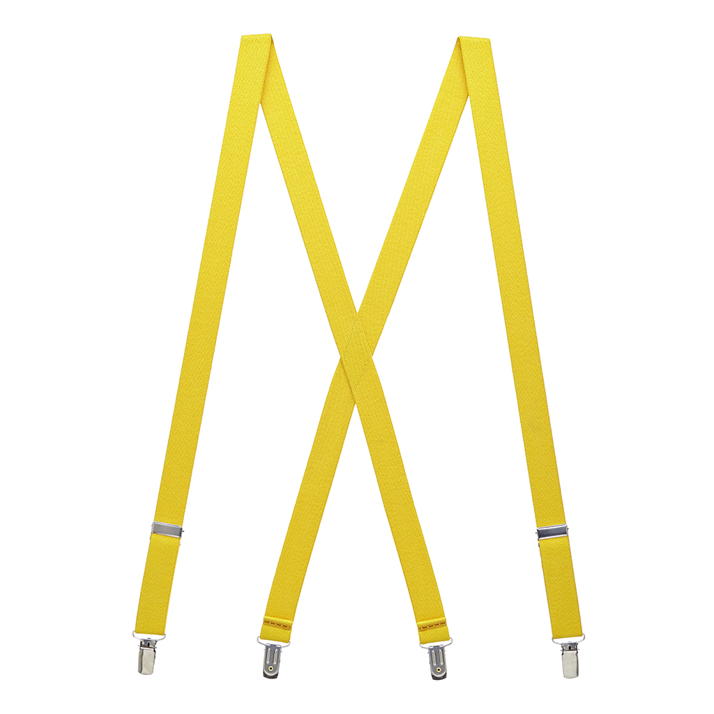 1 Inch Wide Clip Suspenders (X-Back) - CANARY YELLOW