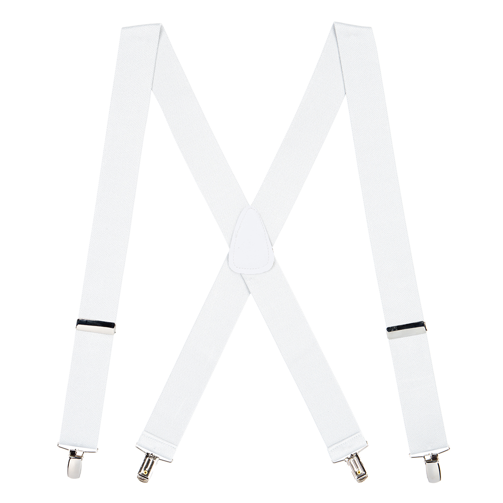 1.5 Inch Wide Clip Suspenders - WHITE