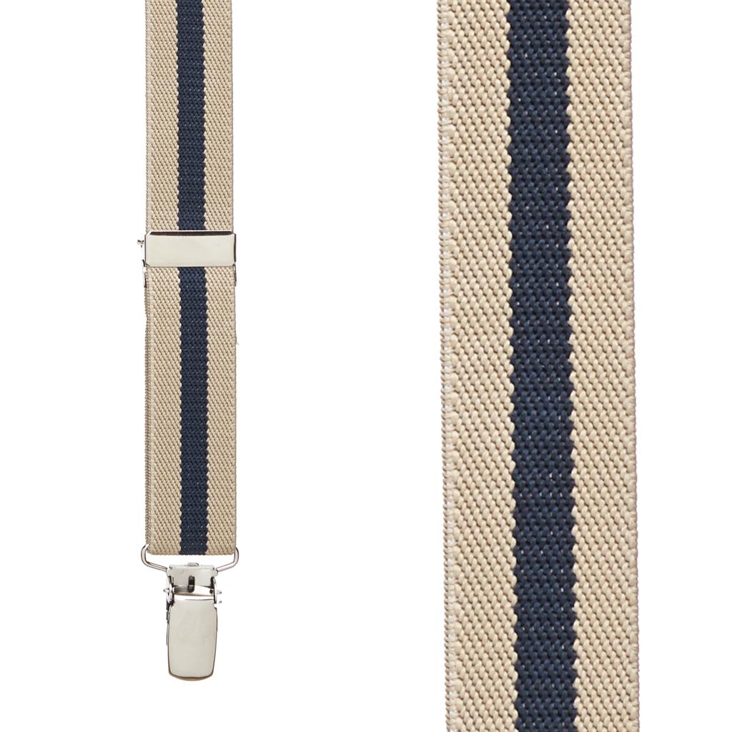 Khaki/Navy Striped Clip Suspenders - 1 Inch Wide