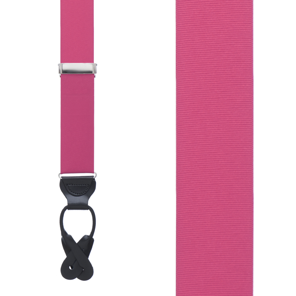 Dark Pink Grosgrain BUTTON Suspenders
