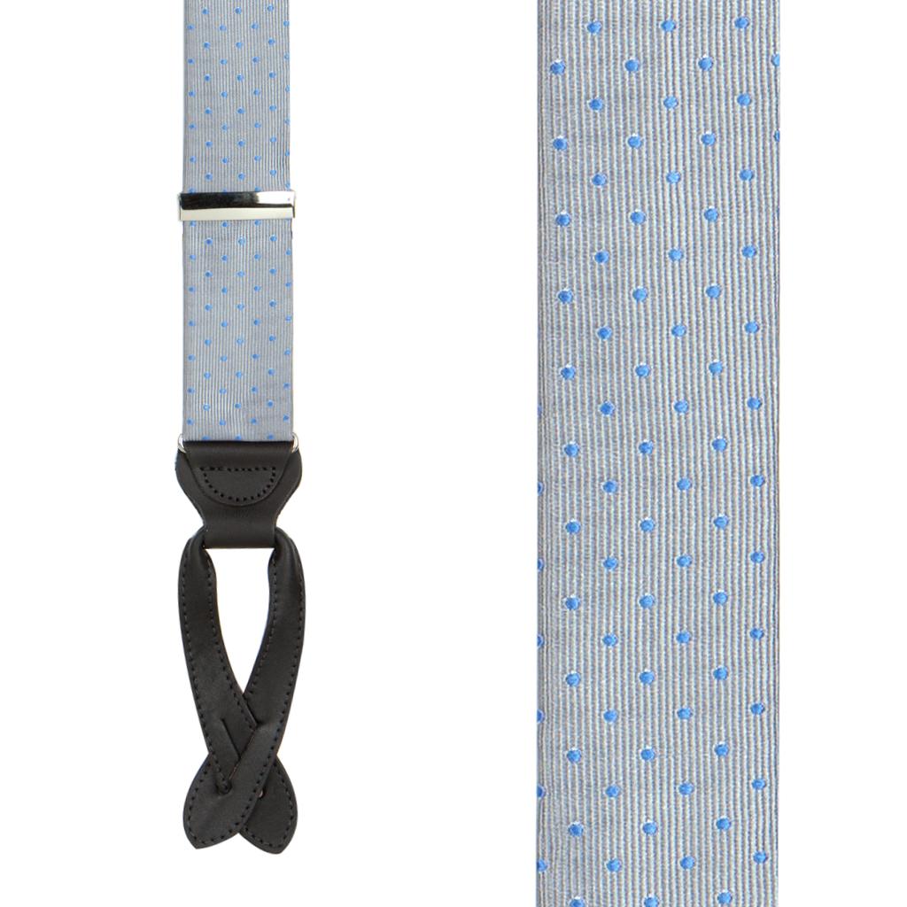 Polka Dot Silk Suspenders - Light Blue on Grey