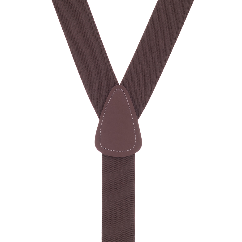 1.25 Inch Wide Button Suspenders - BROWN