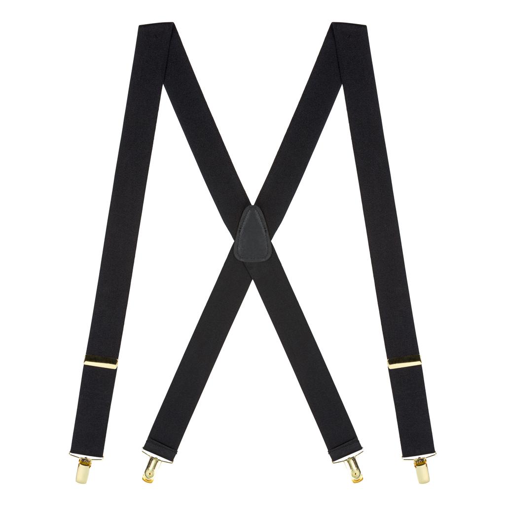 Black Brass Clip Suspenders - 1.5 Inch Wide