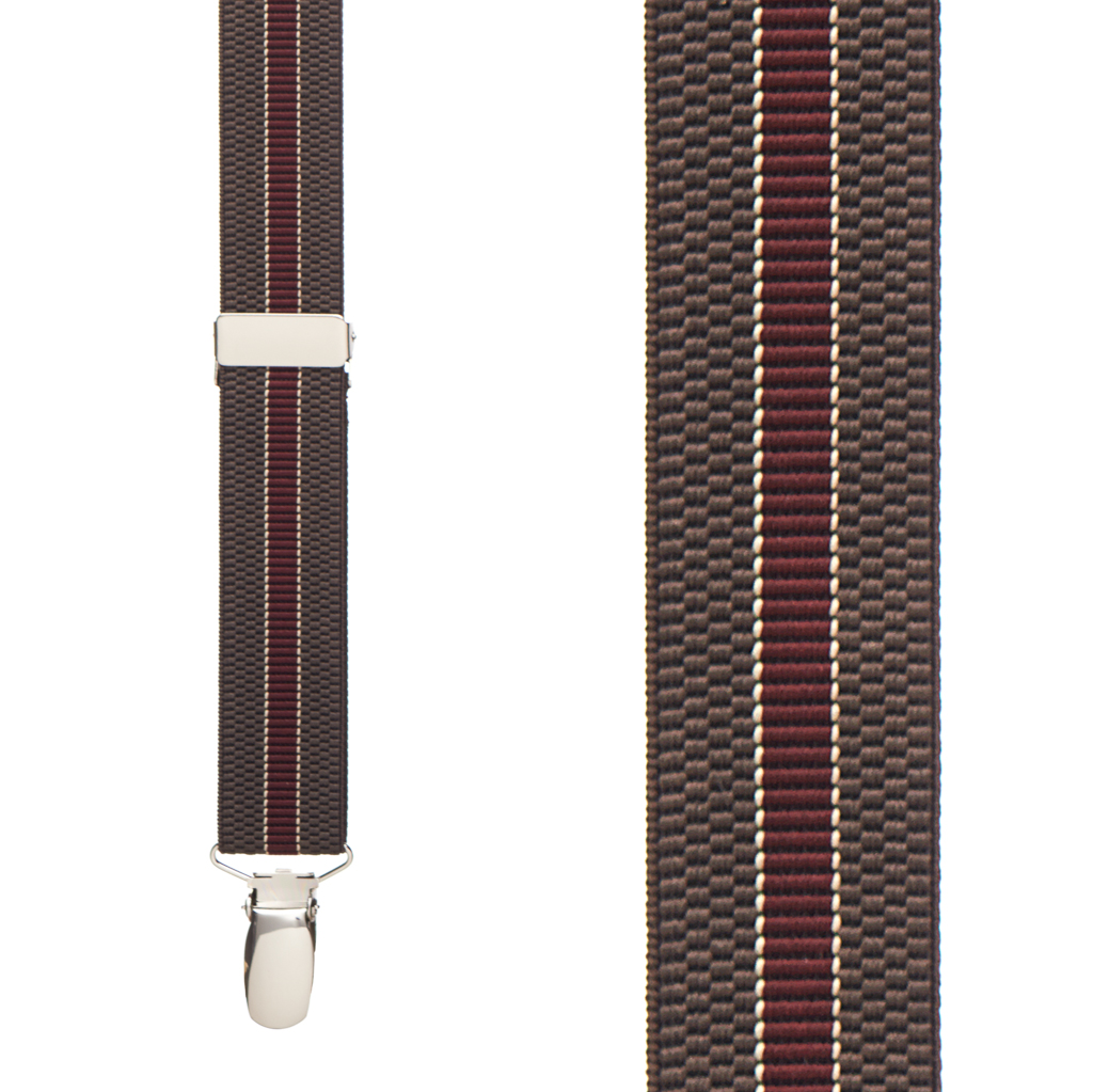 BROWN/BURGUNDY Striped Suspenders - 1 Inch Wide