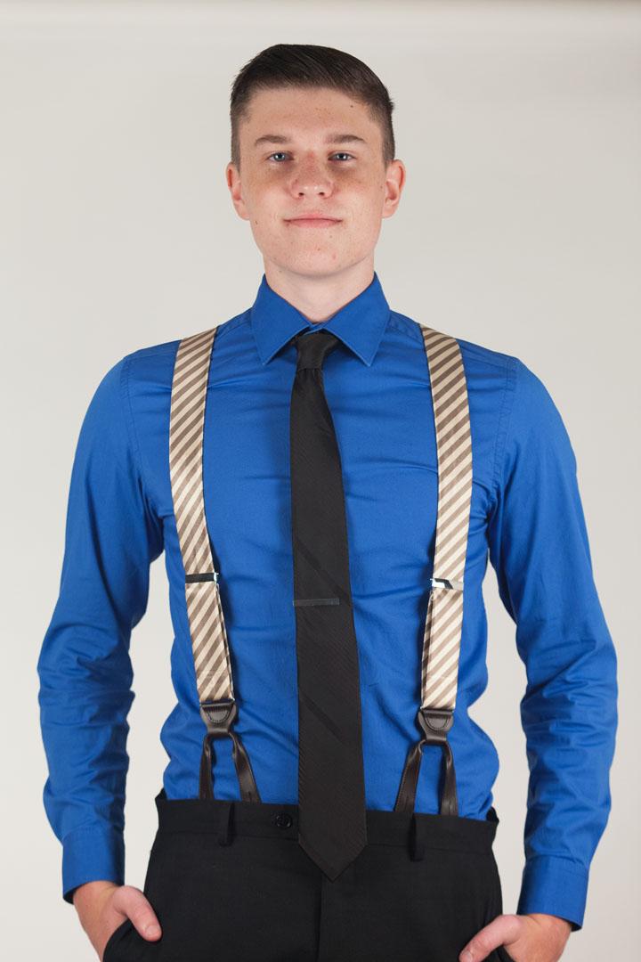 Silk Diagonal Stripe Suspenders - Button