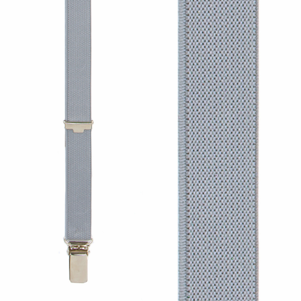 3/4 Inch Wide Thin Suspenders - Matte Grey