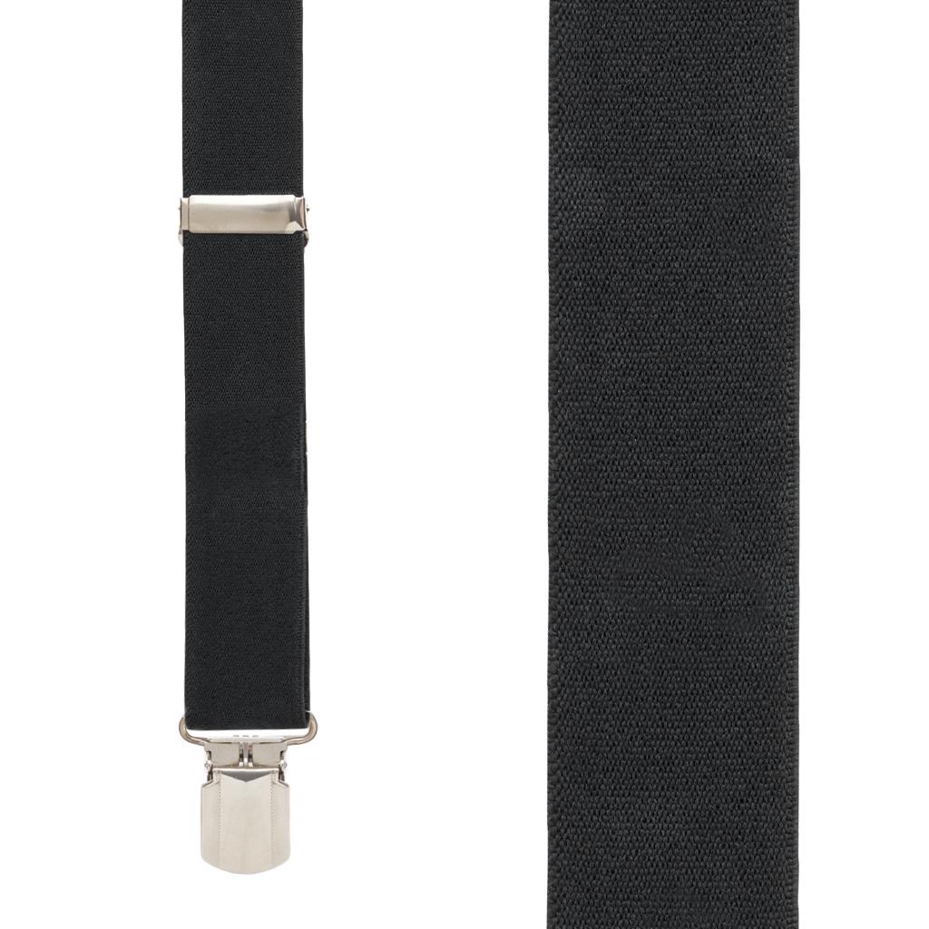 1.5 Inch Wide Pin Clip Suspenders - BLACK