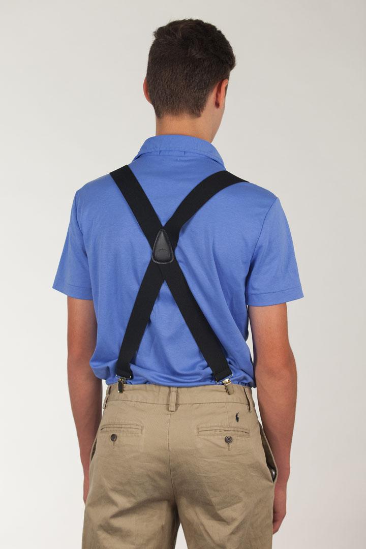 1.5 Inch Wide Finger Clip Suspenders - BLACK