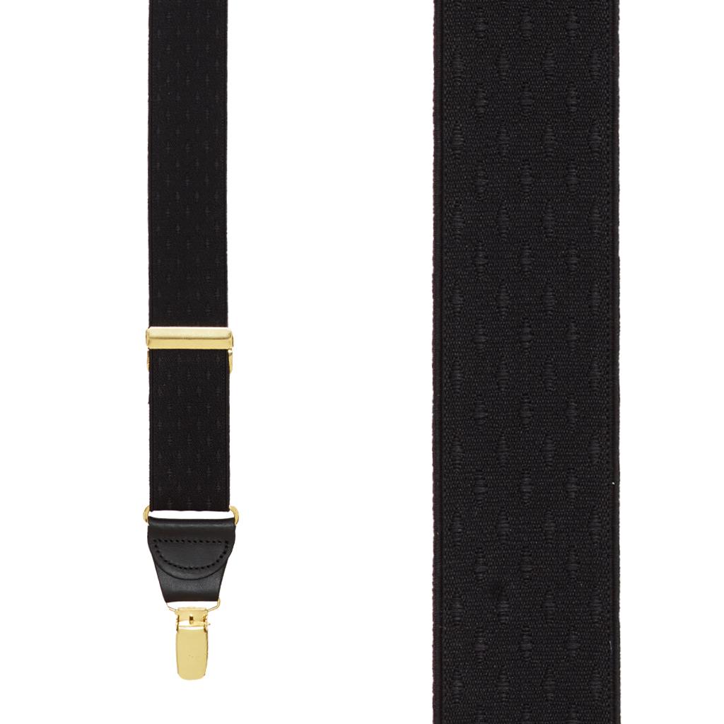 Black Jacquard Suspenders - Petite Diamonds Clip