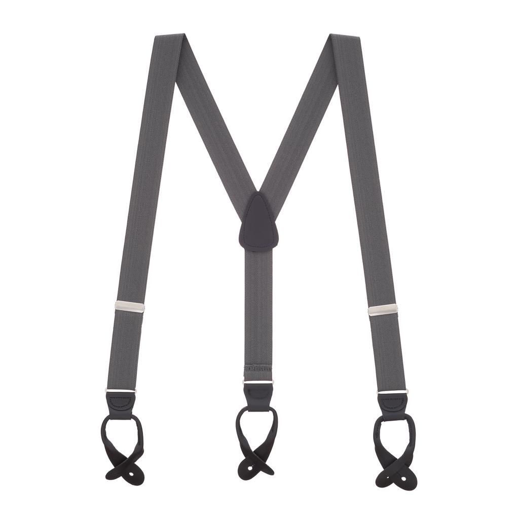 1.25 In Wide Button Suspenders - DARK GREY
