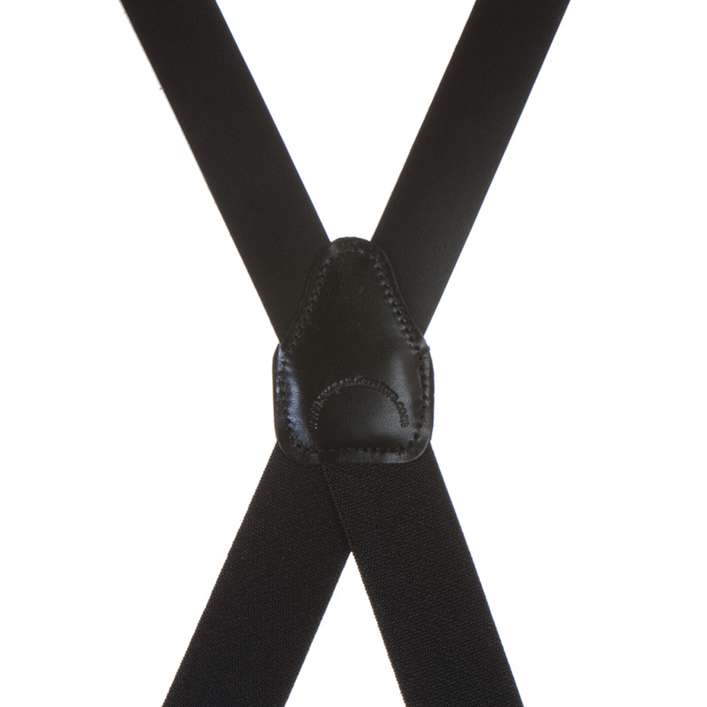 All Leather Clip Suspenders - BLACK