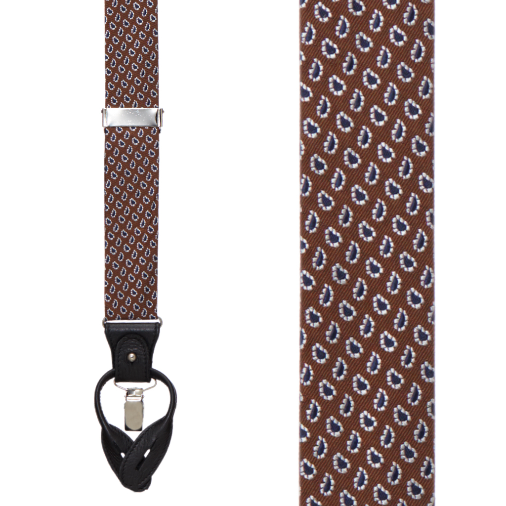 Small Paisley Silk Suspenders - Convertible End