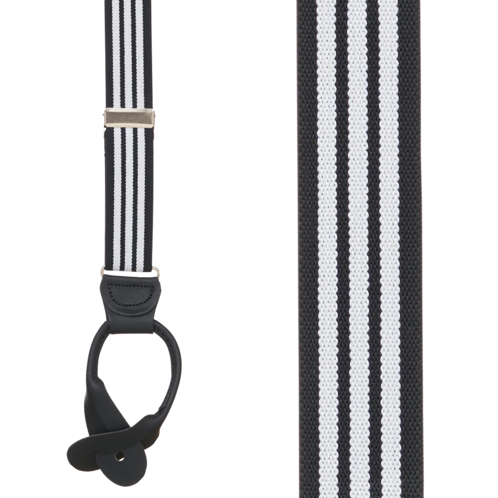 Black/White Striped Y-Back Button Suspenders - 1 Inch Wide