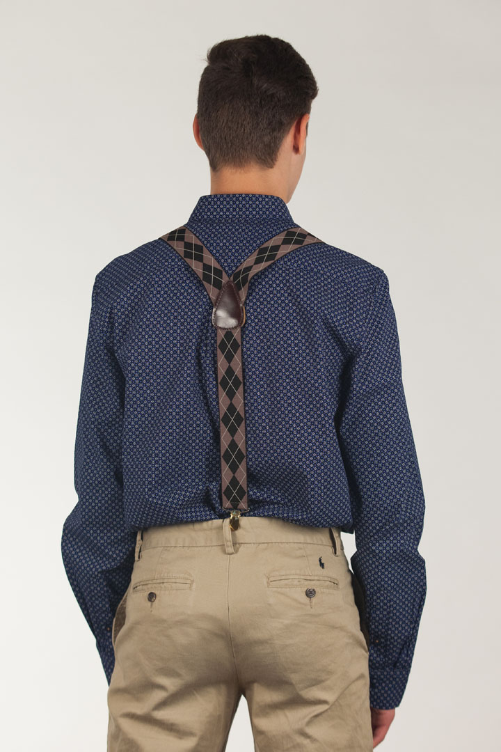 Brown Argyle Clip Suspenders