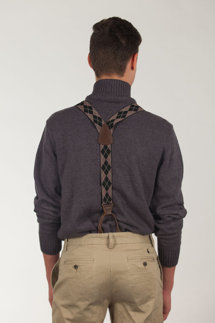 Brown Argyle Button Suspenders